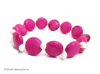 Hot Pink Turquoise Coins & White Beaded Fashion Bracelet | Silver Sensations
